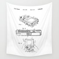 gameboy Wall Tapestries featuring Nintendo Gameboy Patent by Elegant Chaos Gallery