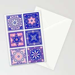 Talavera Mexican Tile – Pink & Periwinkle Palette Stationery Cards