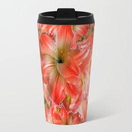 Peppermint Color Amaryllis Flower Avocado Pattern Travel Mug