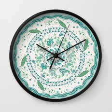 Leaf and Feather Calming Turquoise Mandala Wall Clock