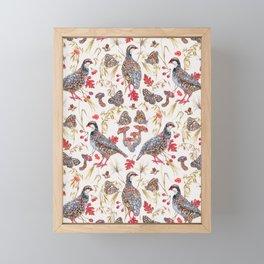 Foraging Partridges - Eggshell Framed Mini Art Print