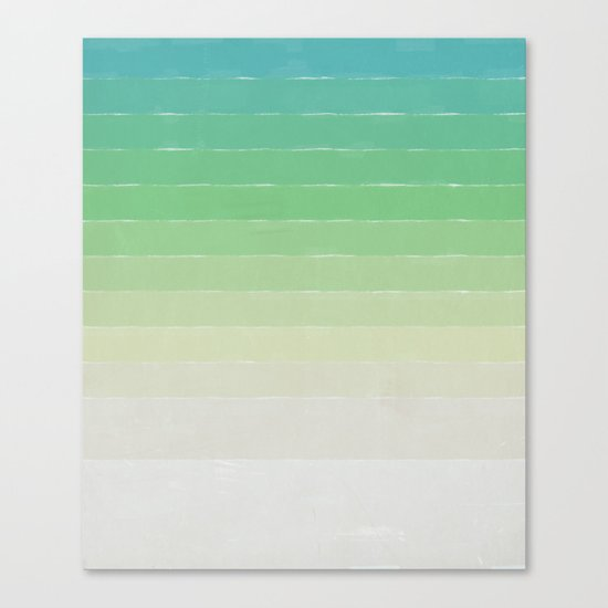 Shades of Ocean Water - Abstract Geometric Line Gradient Pattern between See Green and White Canvas Print