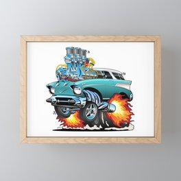 Classic Fifties Hot Rod Muscle Car Cartoon Framed Mini Art Print