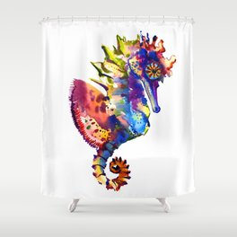 Rainbow Seahorse, seahorse art design Shower Curtain