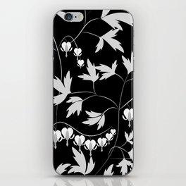 White black floral pattern iPhone Skin