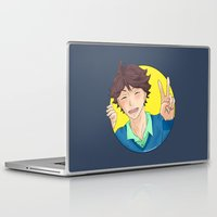 haikyuu Laptop & iPad Skins featuring Oikawa Tooru - Haikyuu!! - circle peace sign by anywayimnikki