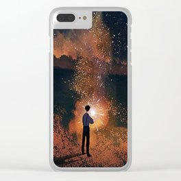 Boy playing with fireworks Clear iPhone Case