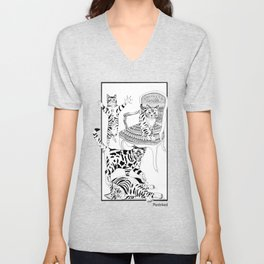 Cats with a chair - Ink artwork Unisex V-Neck