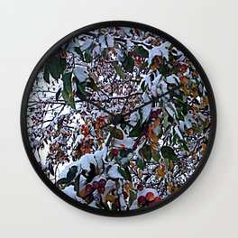 Snow on Fall Leaves Wall Clock