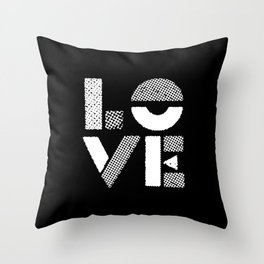 Love black and white contemporary minimalist typography design home wall decor bedroom Throw Pillow
