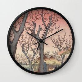 Plum Garden Kamata Ukiyo-e Japanese Art Wall Clock