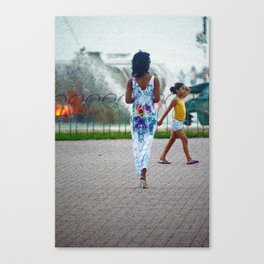 Street Scenes Series Woman by the Fountian Canvas Print