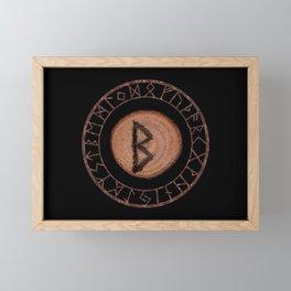 Berkano Elder Futhark Rune secrecy, silence, safety, mature wisdom, dependence, female fertility Framed Mini Art Print