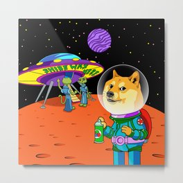 Shibe Doge Astro and the Aliens Memes Cats Cartoon Metal Print