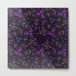 Purple Night Glow Flower Meadow , Rich Fuchsia Pink and Lilac Blooms Glowing in the Dark Black Night Metal Print