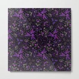 Purple Night Glow Flower Meadow , Rich Fuchsia Pink and Lilac Blooms Glowing in the Dark Black Night Metal Print