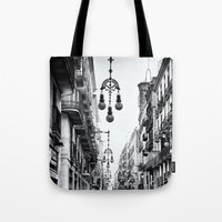 barcelona Tote Bags featuring Barcelona  by Monochrome by Juste Pixx