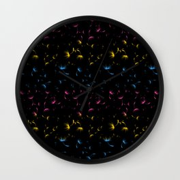 Dandelion Seeds Pansexual Pride (black background) Wall Clock