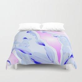 Blue Agate Slice Cacti Pattern Duvet Cover