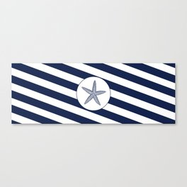 Nautical Starfish Navy Blue & White Stripes Beach Canvas Print