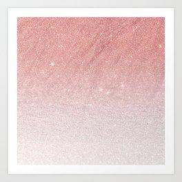 Elegant blush pink faux glitter ombre gradient pattern Art Print
