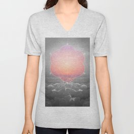 The Sun Is But A Morning Star (Mono Geometric Sunrise) Unisex V-Neck