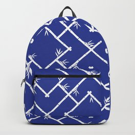 Bamboo Chinoiserie Lattice in Blue + White Backpack