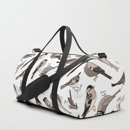 Garden Birds in Monochrome Duffle Bag