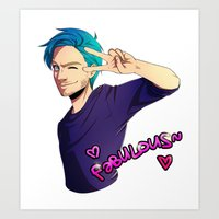 pewdiepie Art Prints featuring Pewdiepie: Fabulous by Kiwa