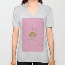 Evil Eye Gold on Pink #1 #drawing #decor #art #society6 Unisex V-Neck