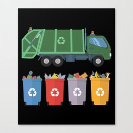 Garbage Truck Kids Trash Recycling Canvas Print
