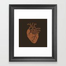 Coffee Lover Heart Framed Art Print