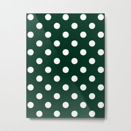 Polka Dots - White on Deep Green Metal Print