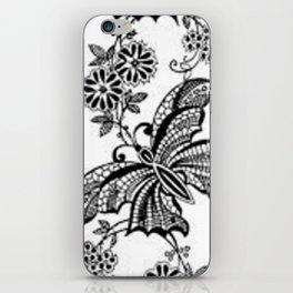 Vintage Lace Butterflies iPhone Skin