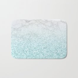 She Sparkles - Turquoise Sea Glitter Marble Bath Mat