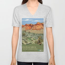 Vintage Poster - Red Rock Canyon National Conservation Area, Nevada (2015) Unisex V-Neck