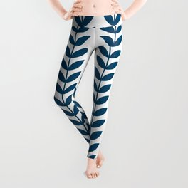 Blue Scandinavian leaves pattern Leggings
