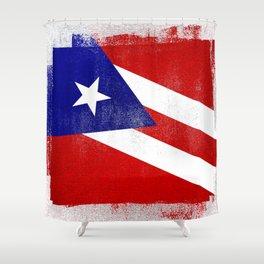 Puerto Rican Distressed Halftone Denim Flag Shower Curtain