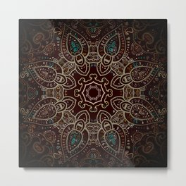 Earth Tones Mandala Metal Print