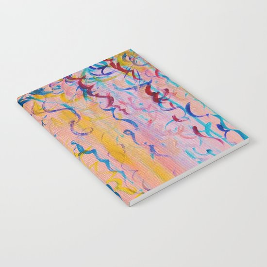COTTON CANDY WHISPERS - Lovely Pretty in Pink Colorful Rainbow Ribbons Abstract Fine Art Painting Notebook
