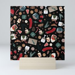 Dark Hygge Christmas Pattern Mini Art Print