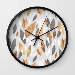 Falling Gold Leaves Wall Clock