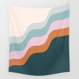 Abstract Diagonal Waves in Teal, Terracotta, and Pink Wall Tapestry
