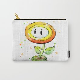 Fire Flower Watercolor Painting Mario Game Geek Art Carry-All Pouch