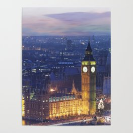 Big ben and the houses of parliament at dusk Poster