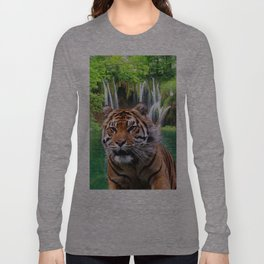 Tiger and Waterfall Long Sleeve T-shirt