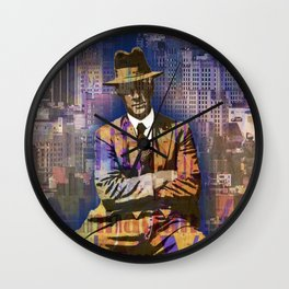 New York Man Seated City Background 1 Wall Clock