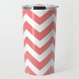 Light coral - pink color -  Zigzag Chevron Pattern Travel Mug