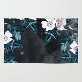 Night Garden Bees Wild Blackberry Rug