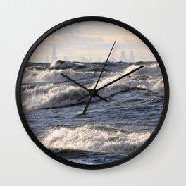 City and Waves Wall Clock